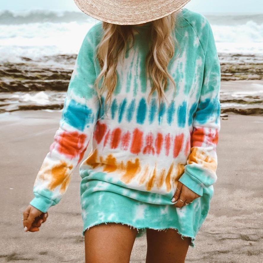Dress Women Daily Indossare il gradiente di colore a colori lunghe bocche intorno al collo estate stile casual Beachwaer Tie-Dye Mini Suower clock