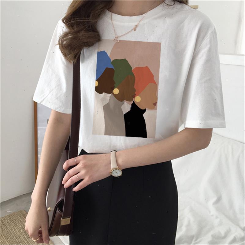 Womens t-shirts Vintage Druck Sommer Cartoon Mode Lässige Frauen Tops T-Shirts Spaß Lose Harajuku Ins Weibliche Feministische Nacken
