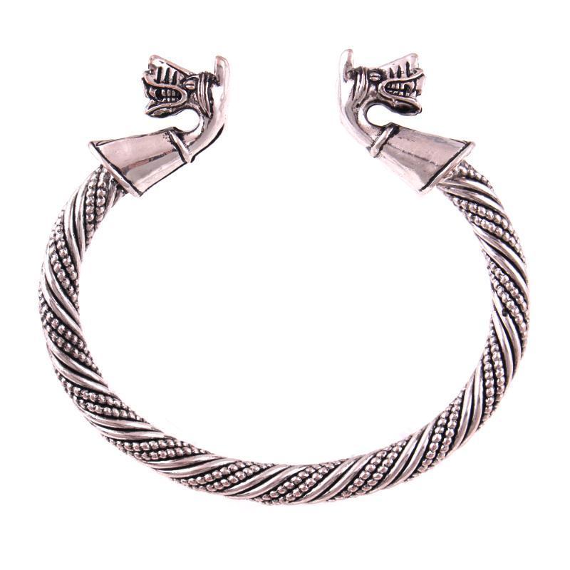 Очаровательные браслеты Викинг Волк Браслет Волки Главы Браслет из Готланд с животным, направляющимся для мужчин