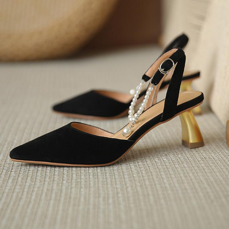 Dress Shoes Sandálias femininas elegantes, novas sandálias de festa alta qualida, estilo stiletto, cor sólida, com fivela UF0M