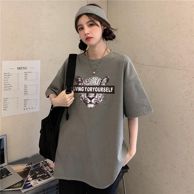 Короткие 6535 Футболка хлопчатобумажной рукава 2021 Новая Базовая Рубашка Летняя буква Корейский Свободный Студенческий Колледж Топ Женская одежда