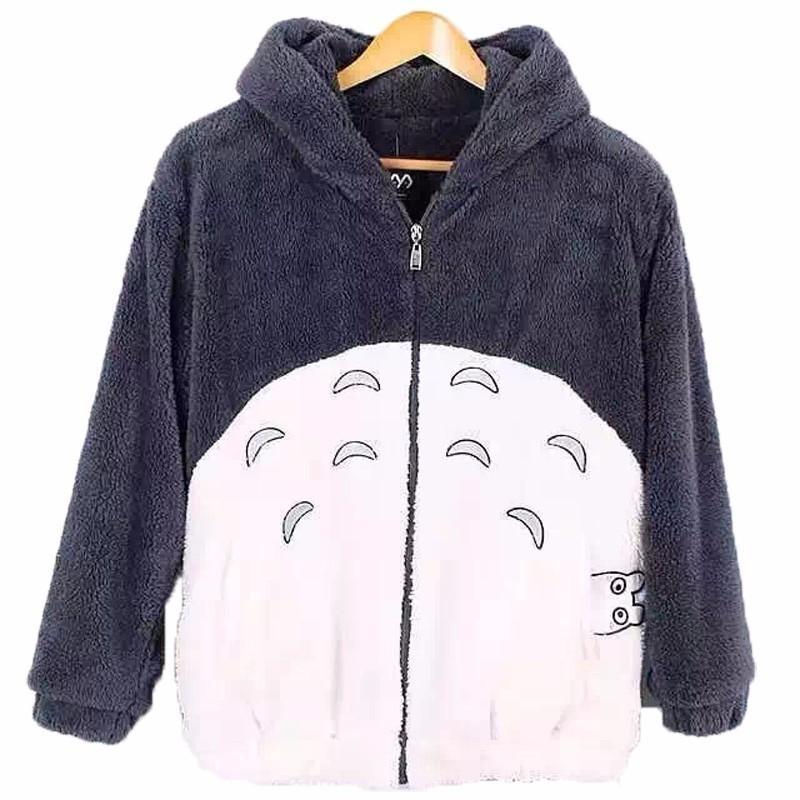 Männer Jacken Anime Totoro Jas Herfst Winter Männer Frauen Doppel Flanel Warme Pluche Cape Paar Cosplay Fleece Oberes Kleid mit Ohr S-6XL