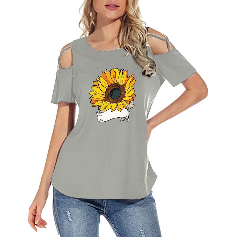 Frauen T-shirt Casual Print Shirts Kurzarm Lose T-Shirt Tunes Tunika für Kleidung # L2 Damen T-Shirt
