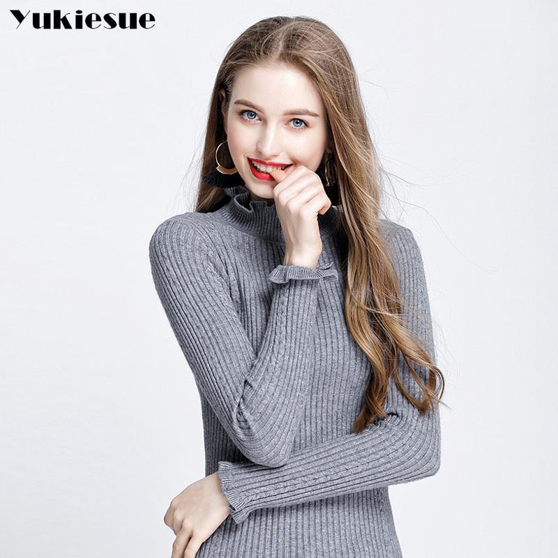 Yukiese Frauen Pullover und Pullover Weibliche Vollwolle Pullover gestrickt Casual Rollkragenpullover Pull Femme Anhänger Jumper 210412