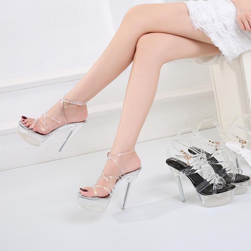 Catwalk Shoes Summer Women's Sandals Car Shew Sexy High Slippers Crystal Transparent Thin Heels Cross Belt1