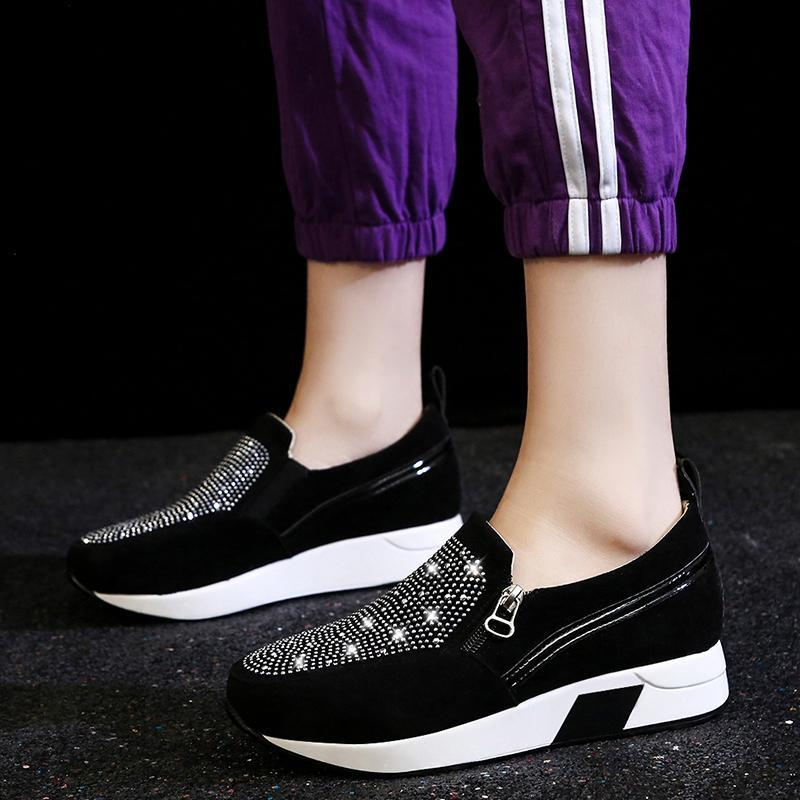 Dress Shoes Plus Size 35-43 Women Platform Side Zip Casual Woman Loafers Wedges Slip On Black Ladies Zapatos Mujer N7882L
