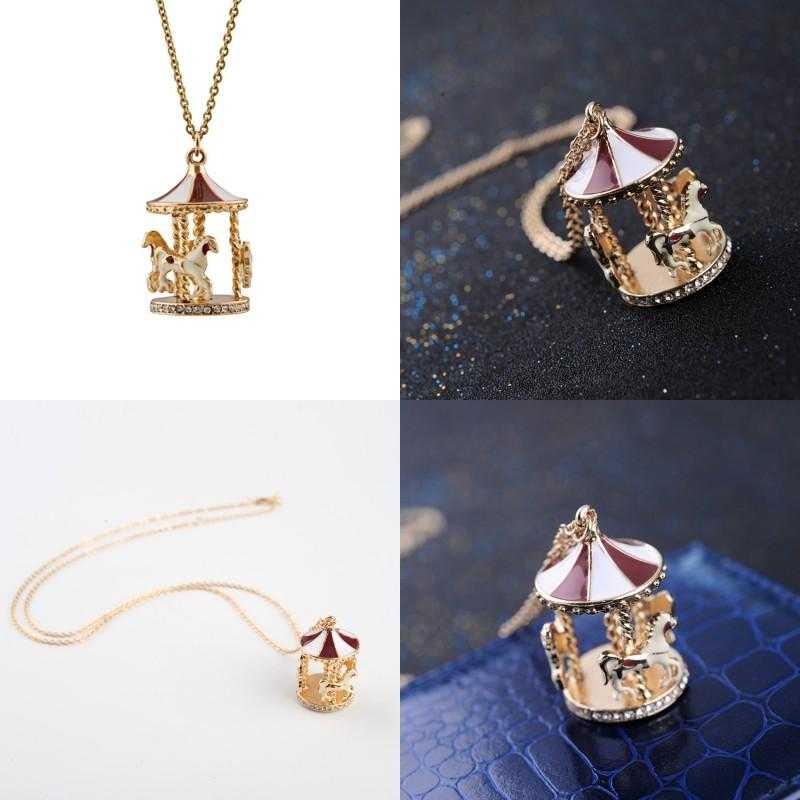 Carousel Horse Pendentif Colliers Fashion Gold Chain Collier Femme Crystal Pull Bijoux Accessoires 335 G2
