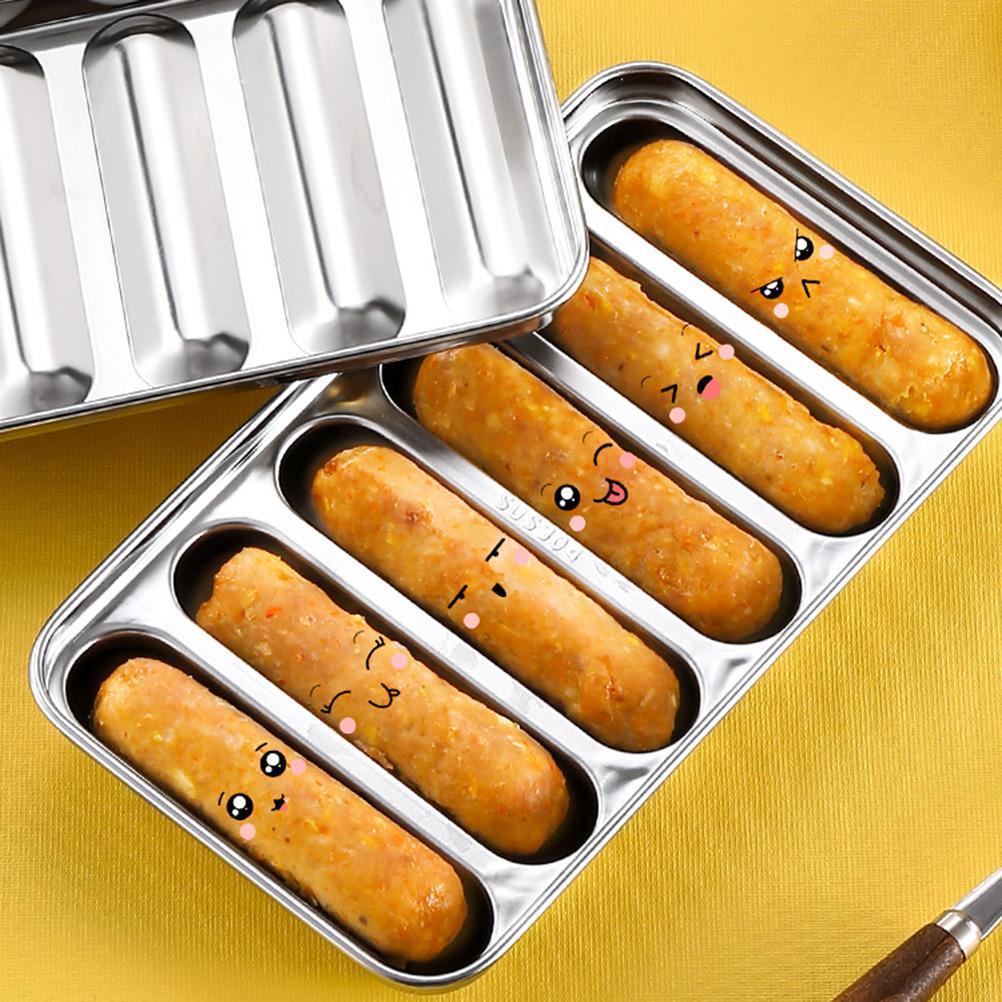 Outils de cuisine Saucisse Moule Moule 6 Grilles Acier inoxydable DIY Ham Hot Dog Make Saucisses Ménage Saucisses Cake Baking Outil Moules GWF9095