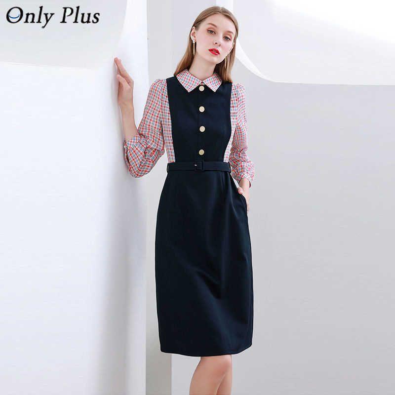 Nur plus Shirt Kleid Frauen Peter Pan Collar Mode Schwarz Büro Dame Kleider Lange Patchwork Streifen Langarm Vestidos 210603