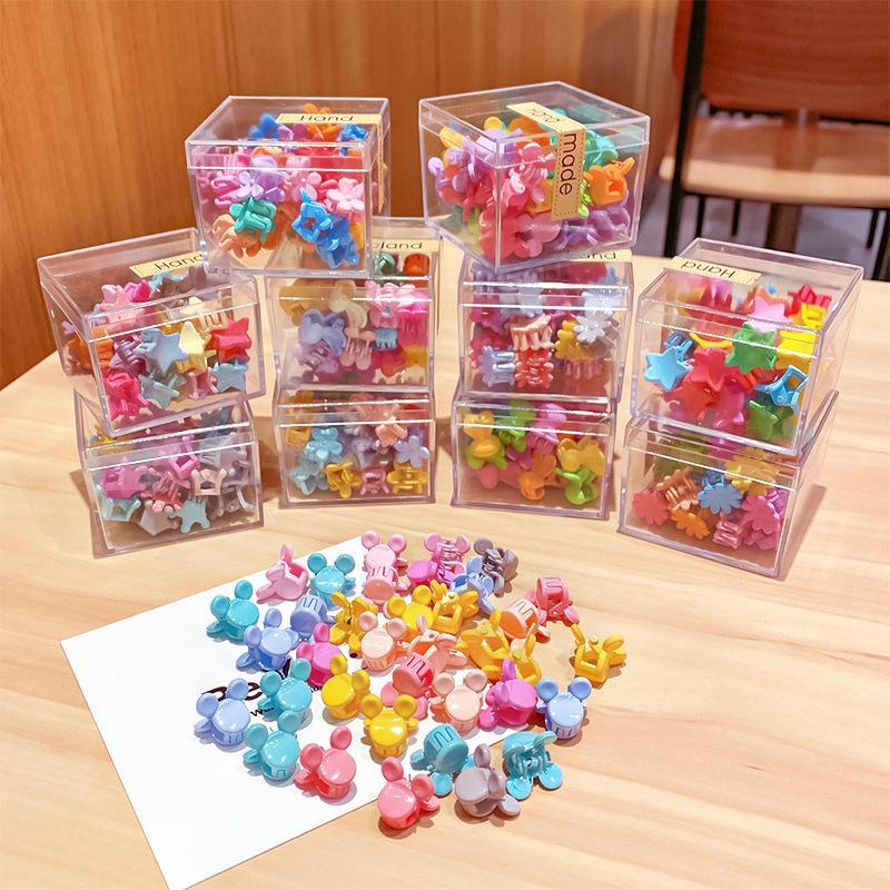 36PCS/Set Box Packed Girls Cute Colorful Cartoon Flower Small Hair Kids Lovely Clip Headband Fashion Accessories