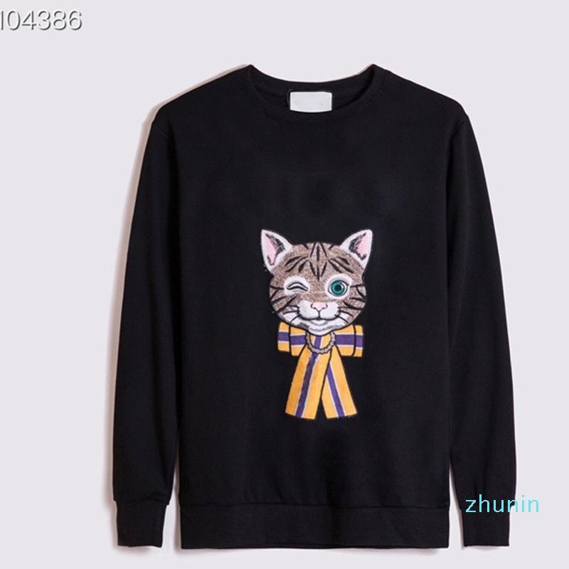 Designer di alta qualità con cappuccio Mens Skateboard Felpe Cat Magliette a maniche lunghe Felpe con cappuccio Donna Abbigliamento moda Ricamo stampato lettera