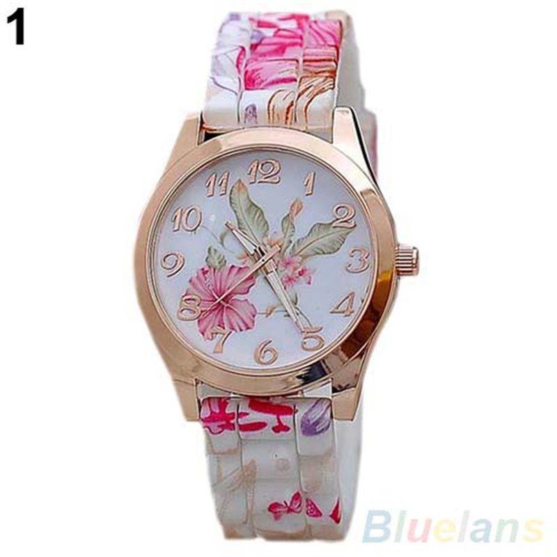 3Vintage Women Watch Flower Print Silicon Band Clock Arabic Numerals Alloy Dial Quartz Wrist Watch reloj mujer Ladies Watch Luxu a2