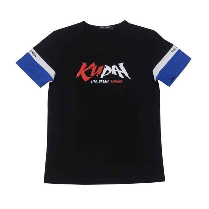 Camiseta Ku Pai Tracksuit Homens Trends Fitness Algodão Hip Hop Roupas Tee para homem