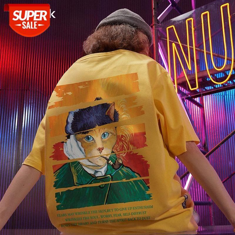 Tendencia de High Street Camiseta de manga corta Marea de hombre Marca de país Tamaño grande Gato gordo Gato de manga de media manga de manga de manga de manga para aumentar los amantes COM # PU17