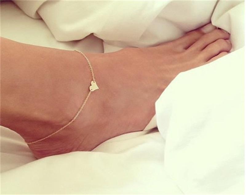 Ragazza moda semplice cuore caviglia braccialetto catena spiaggia sandalo gioielli c00021 smad 518 t2