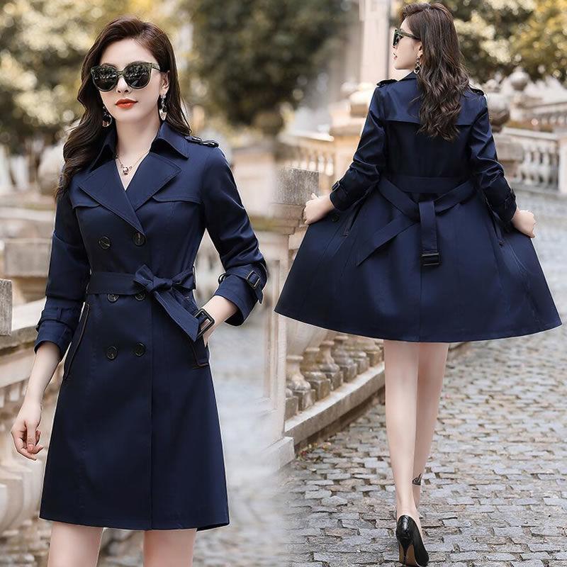 المرأة الخندق معاطف المرأة 2021 ربيع الخريف عارضة بلون مزدوجة الصدر أبلى أنثى أزياء الزنانير مكتب معطف شيك طويل x107