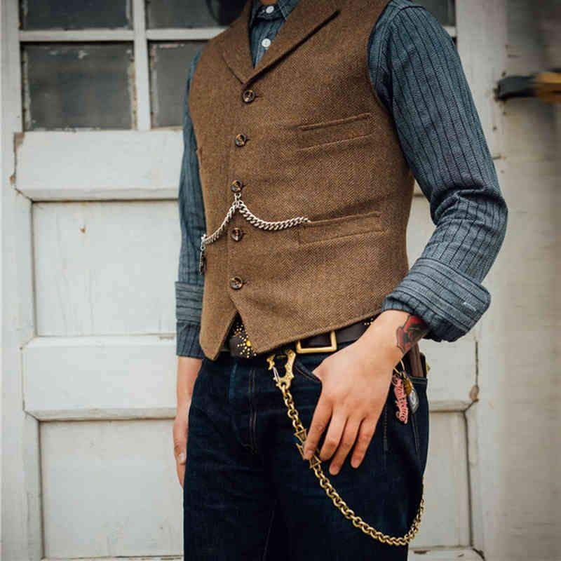 Yelek erkek takım elbise Kahverengi Yün Tüvit İş Yelek Ceket Casual Slim Fit Gilet Homme Yelekler için Groosmen Adam Düğün