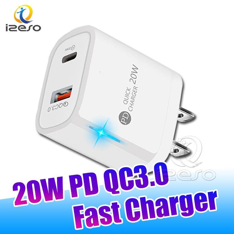 QC3.0 PD المنافذ المزدوجة شاحن الجدار USB 5V 3A EU الولايات المتحدة المقابس شحن سريع محول لفون 13 12 برو ماكس سامسونج S21 Izeso