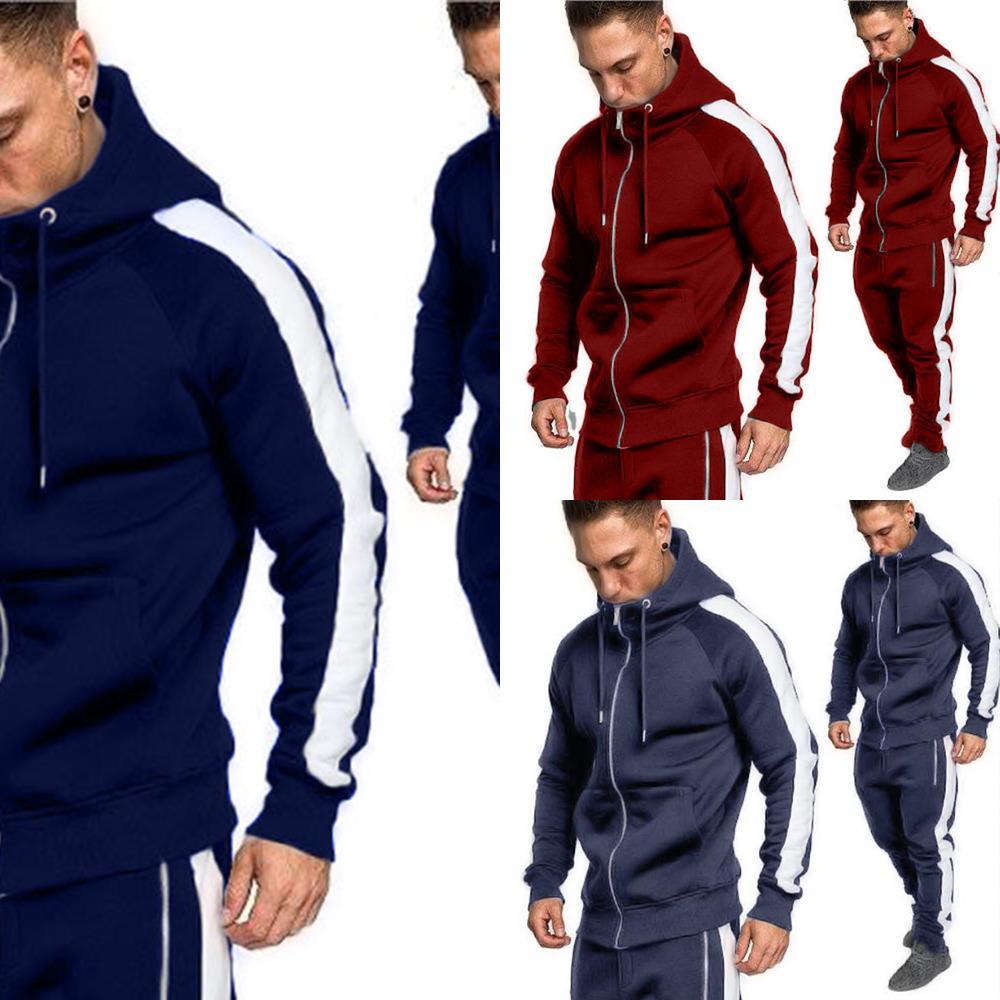 ZOGAA 2019 Männer Trainingsanzüge Outwear Hoodies Reißverschluss Sportwear Sets Männliche Sweatshirts Cardigan Männer Set Kleidung Hosen Plus Größe X0601
