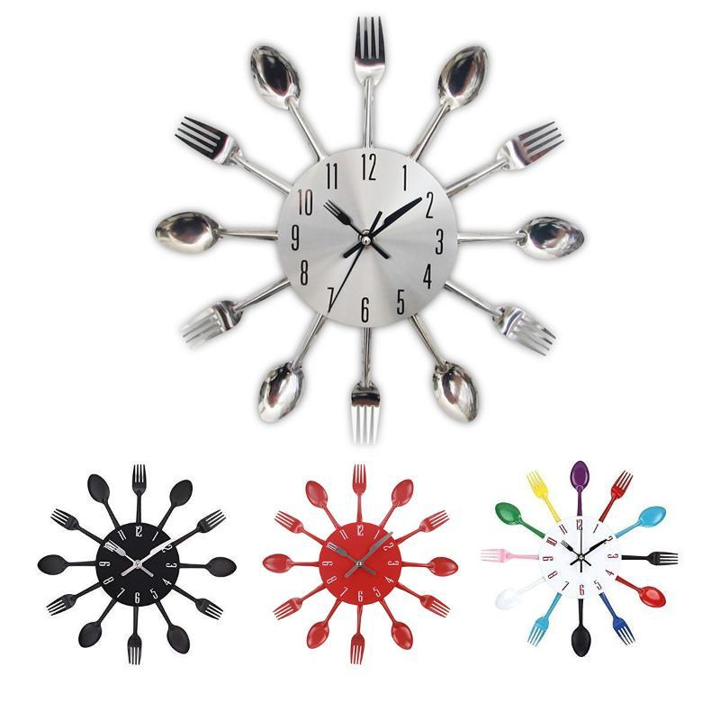 Cutelaria Cozinha Relógio de Parede 3D Removível Colher Moderno Fork Relógios Espelho Decalque Adesivo 3 ANOS GARANTIA