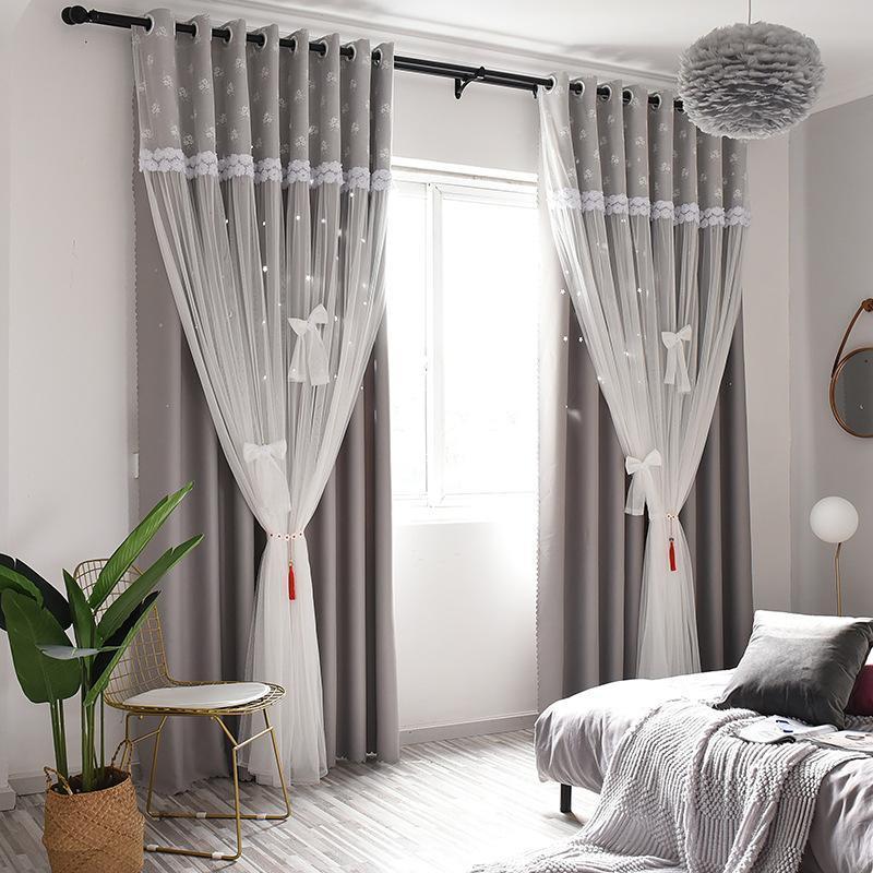 Cortinas cortinas 1 panel Ventana ahuecada en las estrellas cortinas de sombreado para las cortinas de la habitación de la sala de estar
