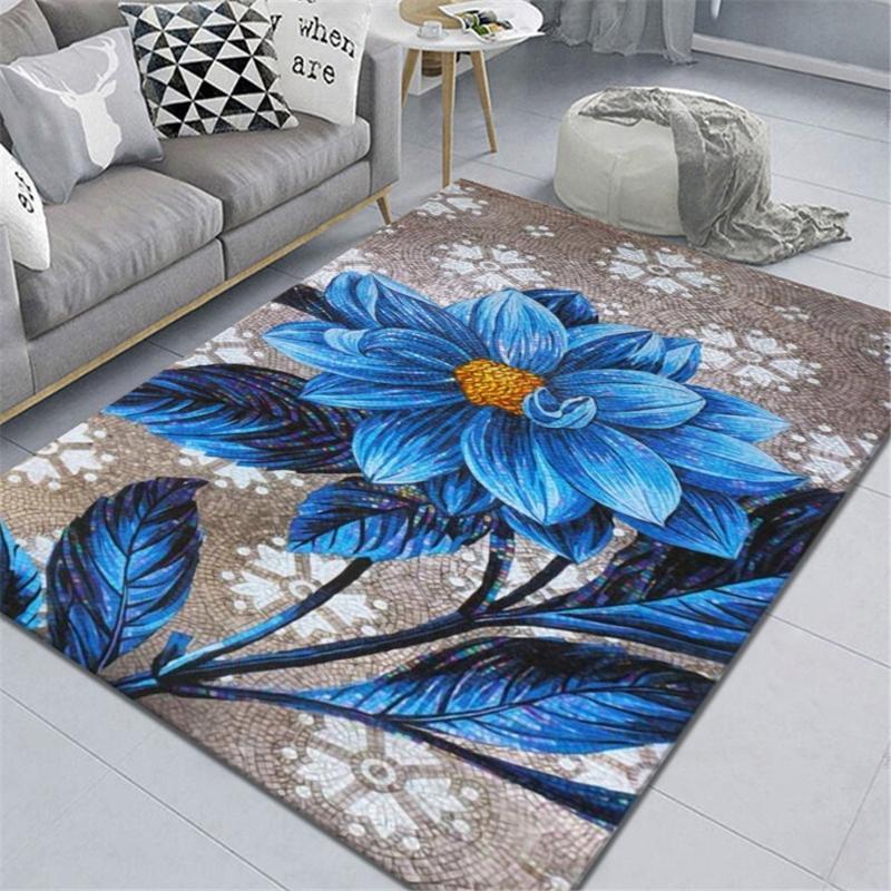 Teppiche Romantische blaue Blume Teppich Schlafzimmer Wohnkultur Salon Korridor Balkon Area Teppich Küche Bodenmatte Modernes Wohnzimmer