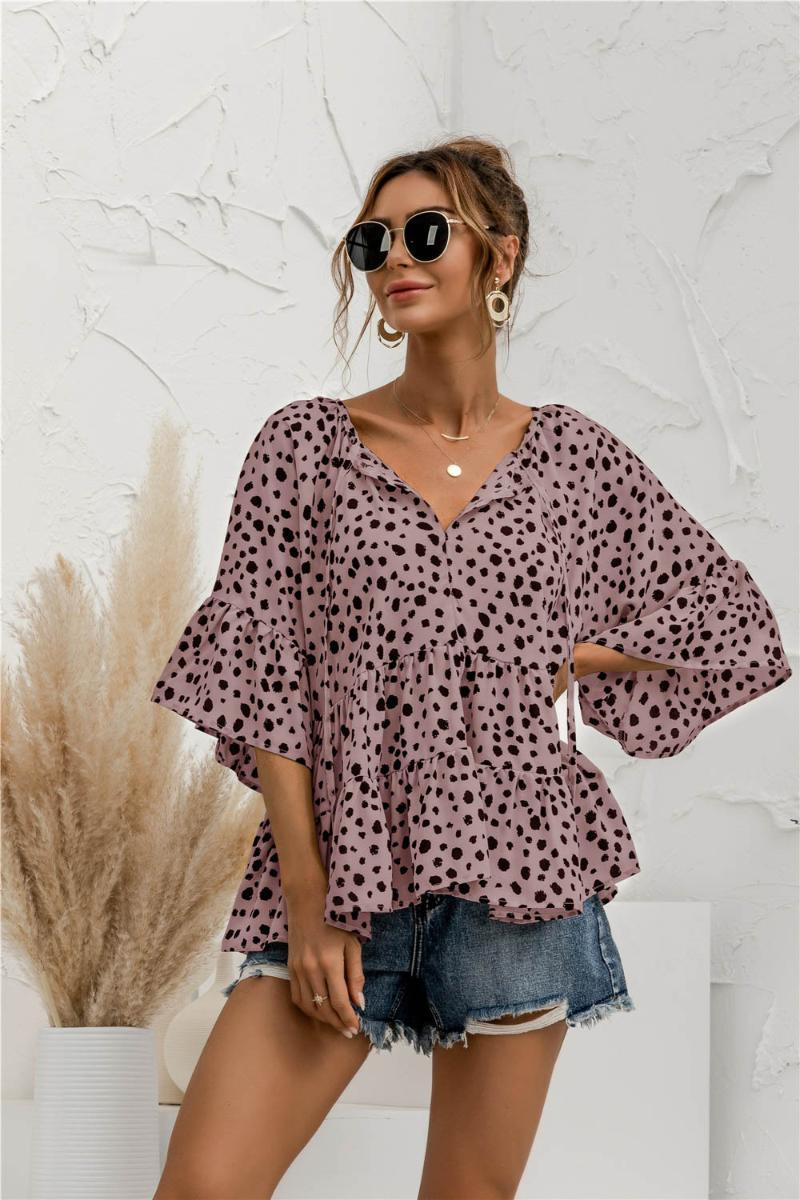 Women's Blouses & Shirts 2021v Neck Lace Up Top