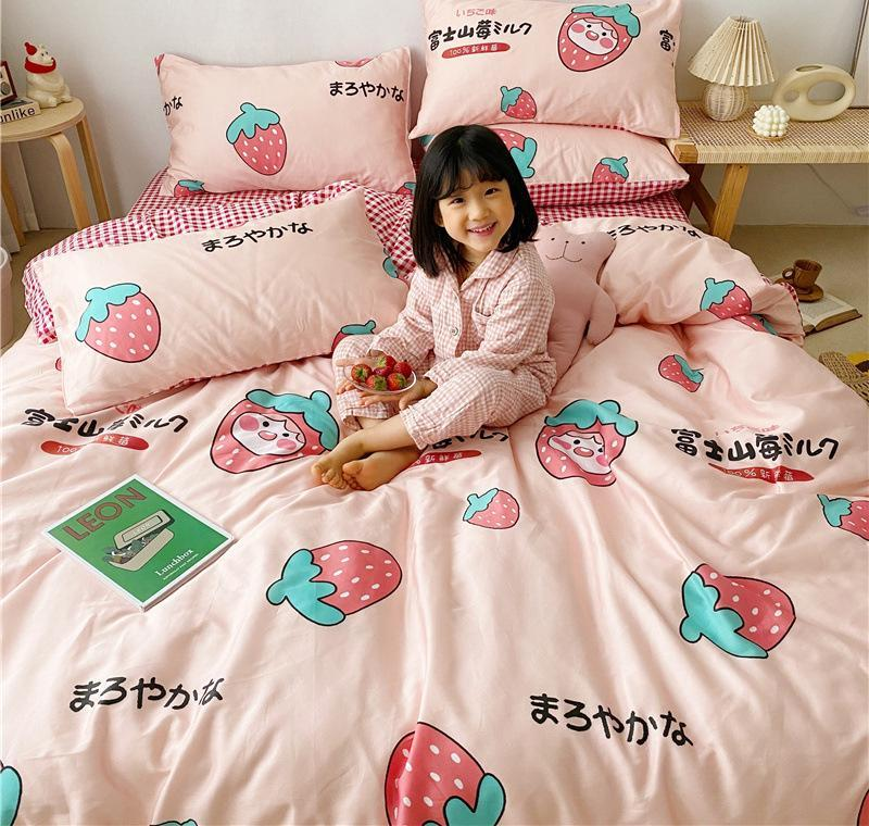 Bedding Sets Fashion Strawberry And Pillowcases 100% Cotton Cute Cartoon Kids Bed Sheets Set Fitted Sheet With Quilt Cover