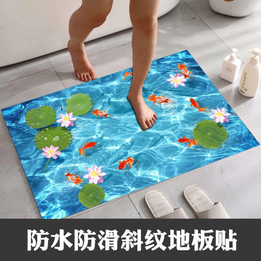 Adesivos decorativos sarjas de peixe desgaste Ristant lagoa impermeável telha banheiro antiderrapante esteira de porta pasta de piso