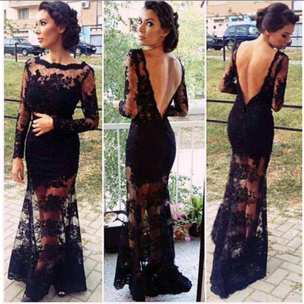 Soiree Evening dress 2015 New Long Sleeves Ruffles Bateau Neck Backless Black Silk Lace Sheer Prom Dresses Mermaid Runway Dresses Gowns XL