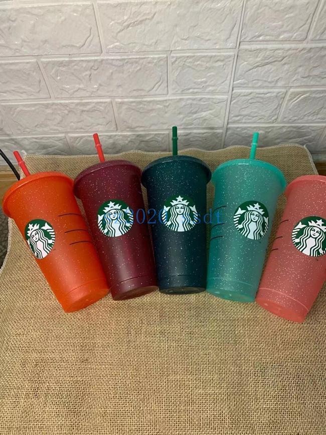 Starbucks 24oz / 710ml Kunststoff Becher Tumbler Deckel wiederverwendbar Klares Trinken Flacher Bodensäule Form Stroh Bardian Farbwechsel Flash Cup, 50 Stück DHL frei