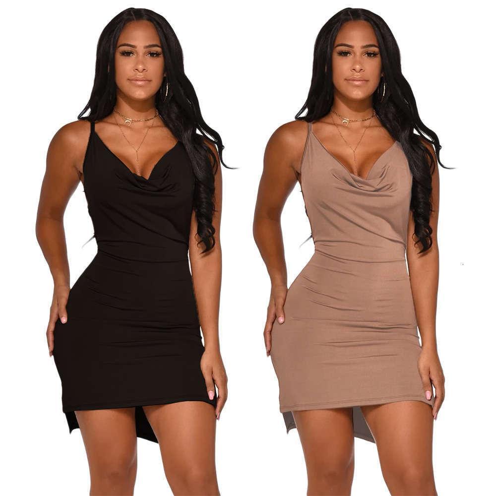 Dresses décontractée DressesSasualSh7134 Sexy Femme Solid Back Robe de bracelet fendue