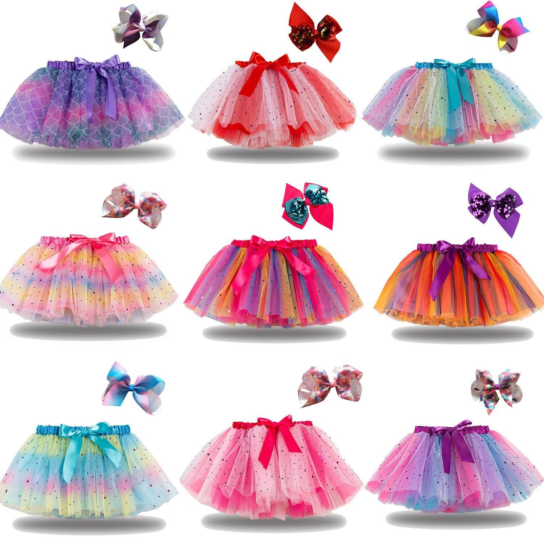 DHL baby girls tutu klänning godis regnbåge färg spädbarn kjolar med huvudband sätter barn semester dans klänningar tutus 21 färger