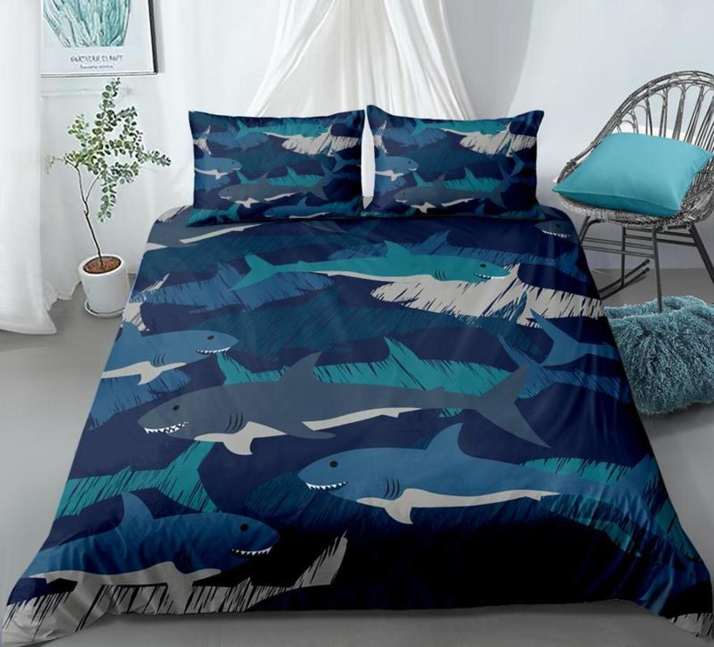 Desenhos animados azul tubarão conjunto conjunto de edredão capa 3-peças colchas do oceano animais capa conjunto azul tubarão padrão home têxtil