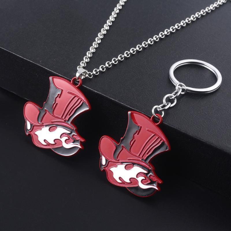 Keychains Japanisches Spiel Persönlichkeit 5 Keychain Akira Kurusu Schlüsselanhänger Metall Anhänger Nehmen Sie Ihr Herz Logo Red Hat Auto Keyring Geschenk