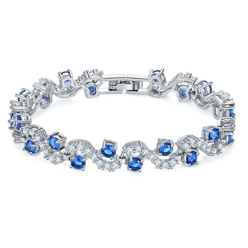Bracciale in argento sterling in sterlina a forma di S europeo e americano zircone austriaco simula i diamanti gioielli moda gioielli perline, fili