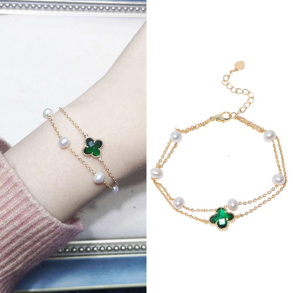 LinkFresh Água Pérola Verde Forma Forma Simples Cristal Duplo Camada Fancy's Bracelet