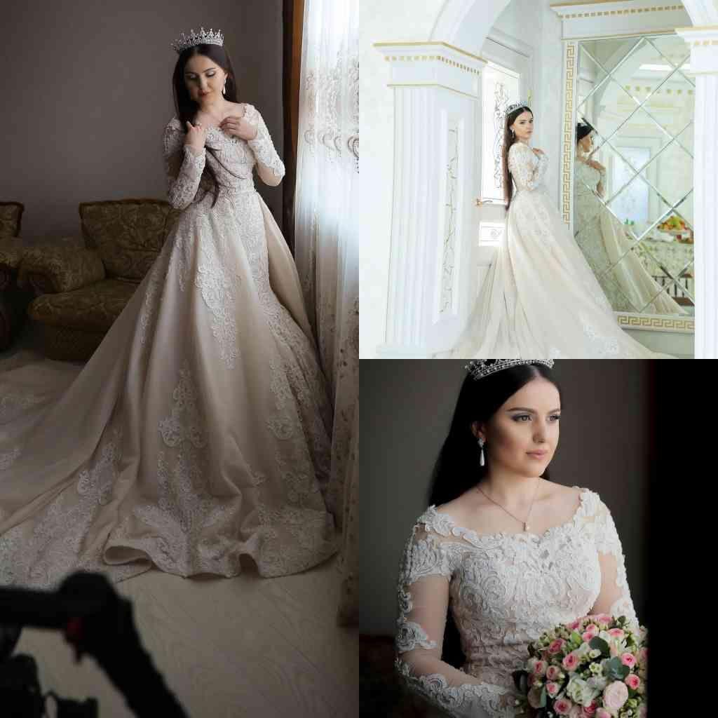 Saoudite Arabic Plus Taille Robes De Mariée Taille Scoop Col À Manches longues Une ligne Robes de mariée Share Train Dace Beach Robe de mariée