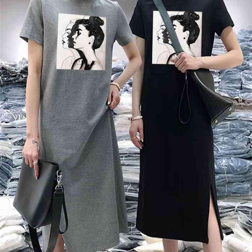 Verão Mulheres Daisy Vestido De Manga Curta Casual Impressão Midi Preto Camisetas Vestidos O-pescoço Mulher Coreana Vestidos 210402