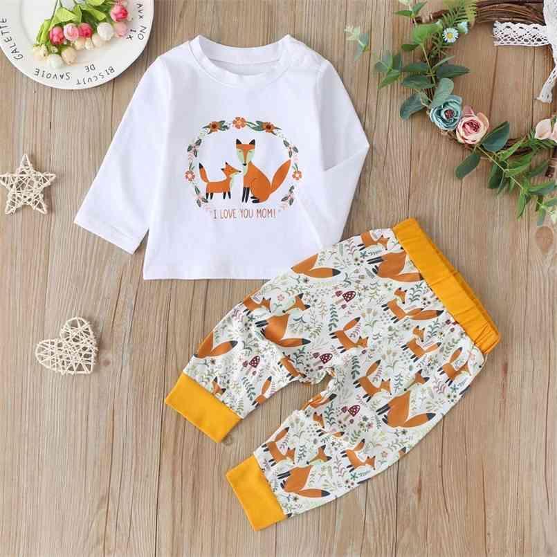 Autunno bambini Set di ragazzi carini manica lunga o collo stampa t-shirt pantaloni Ieisure usura vestiti ragazze 3-18 m 210623