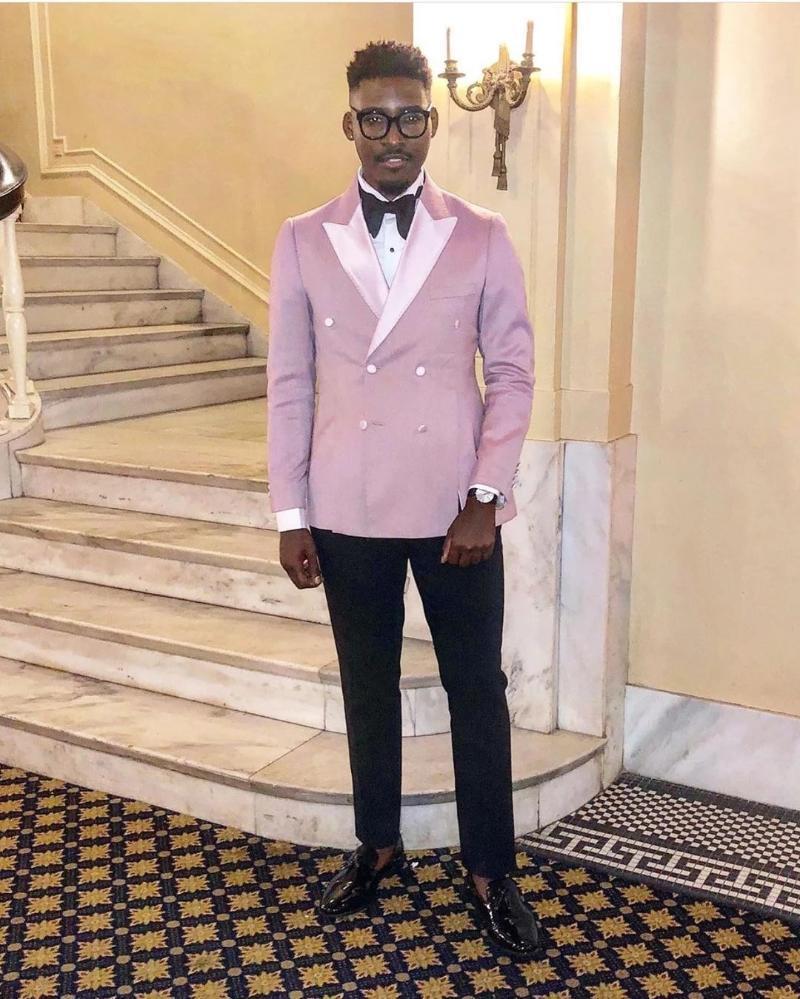 Men's Suits & Blazers Pink Men Black Pant With Satin Lapel Wedding Tuxedos Terno Masculino Groom Prom Slim Fit Blazer Costume 2 Pcs Jacket+P