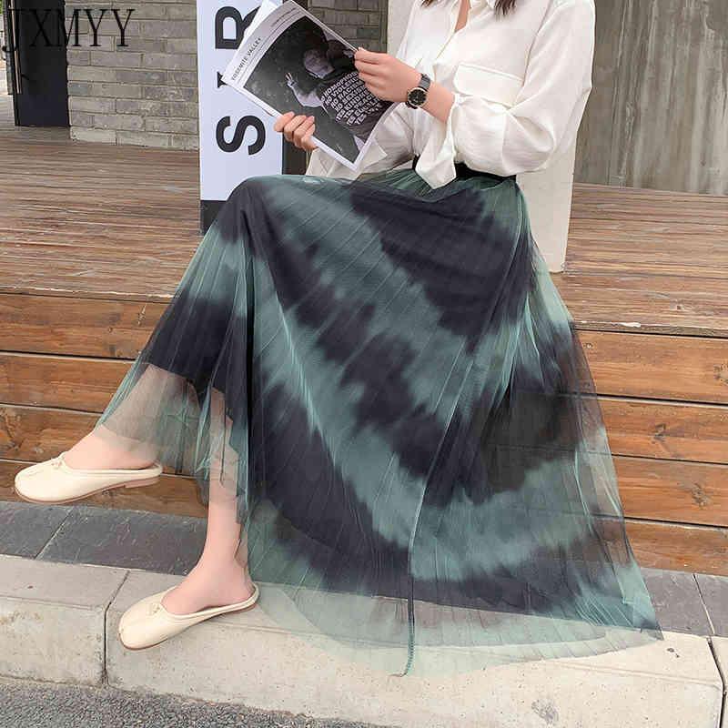 Jupe maille Mode Femme Couleur All-Match Correspondant Smudge Jupe Midi plissée Plissée Casual Printemps Et Été Nouveau JXMYY 210412
