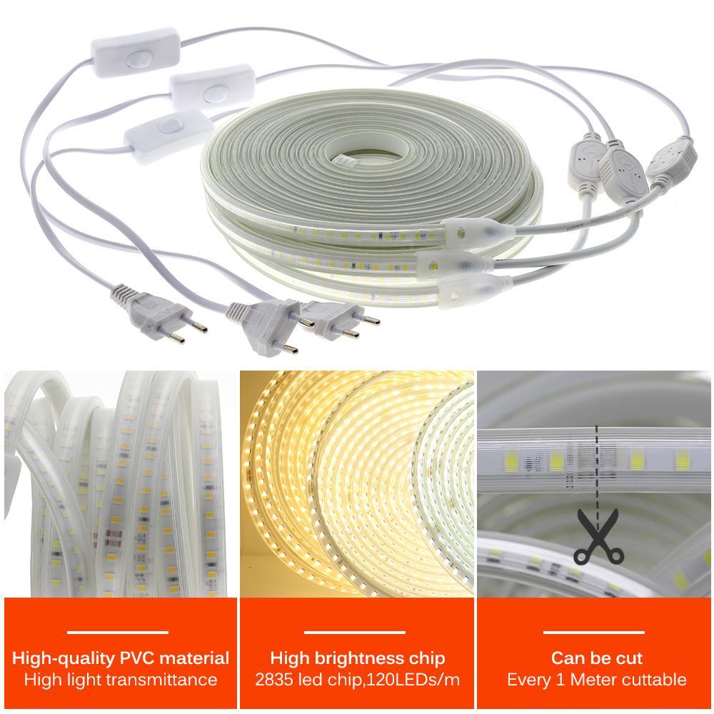높은 밝기 220V 120LEDS / M LED 스트립 소프트 조명 눈부신 유연한 LED 조명 안전 방수 야외 사용 LED 스트립