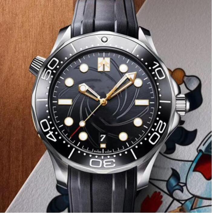 Лучшие резиновые ремешка розовые золотые дизайнерские часы мужчины из нержавеющей стали мужчины автоматические роскошные мужские наручные часы профессиональный дайвер 300M Master Nat