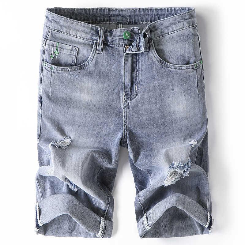 Jeune bleu d'été Blue Blue Coréen Business Fashion Slim Stretch Denim Shorts Mâle Brand Durée pantalon décontracté 210531