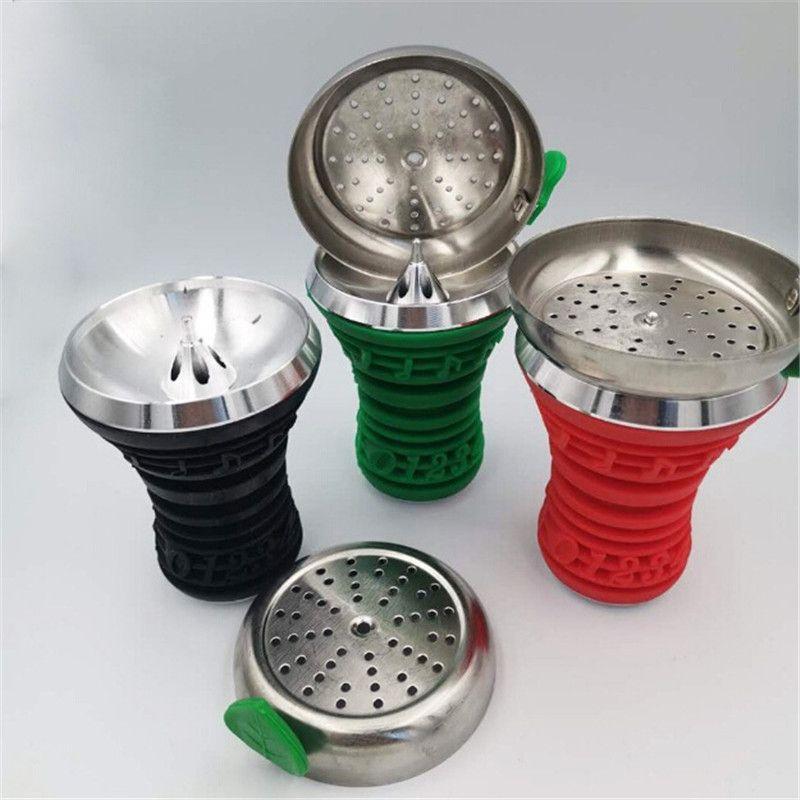 Silicone E-sigaretta Shisha Hookah Ciotola testa con vassoio in metallo in alluminio per tabacco Kit tubi da fumo portabicchieri