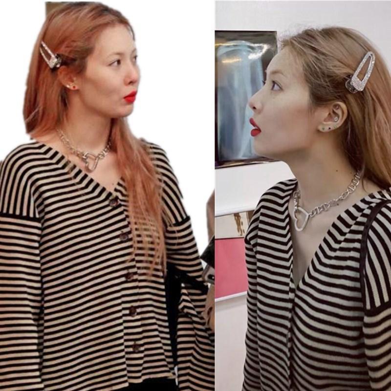 김현명의 대조 색상 니트 카디건 스웨터 여성 한국어 느슨한 게으른 바람 V-Neck 드롭 - 어깨 여성의 니트 티셔츠
