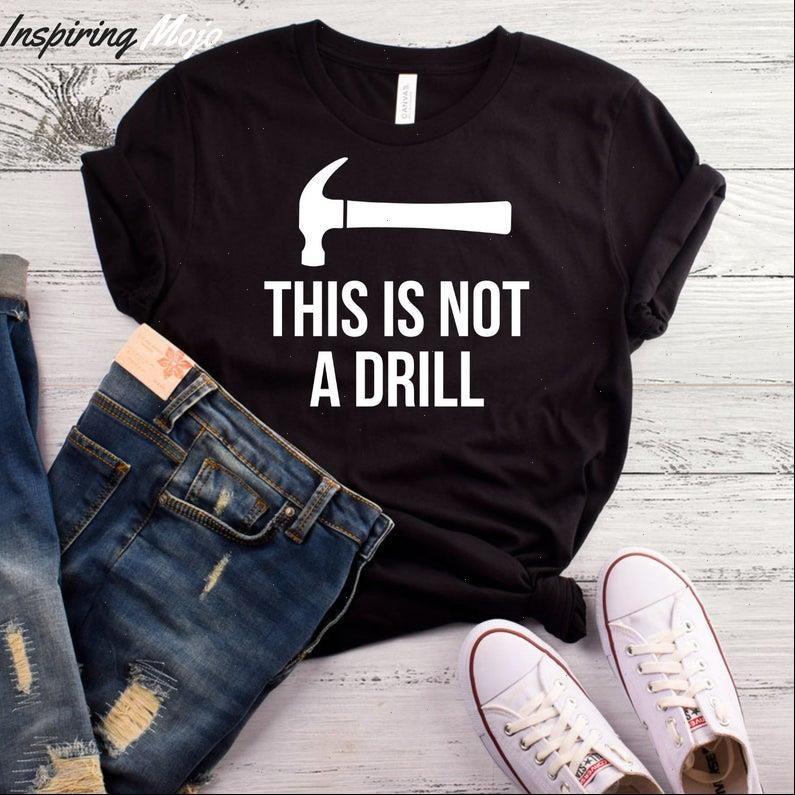 Frauen T-shirt Hemden Dieses ist kein Bohrdruck Kurzarm O Hals locker
