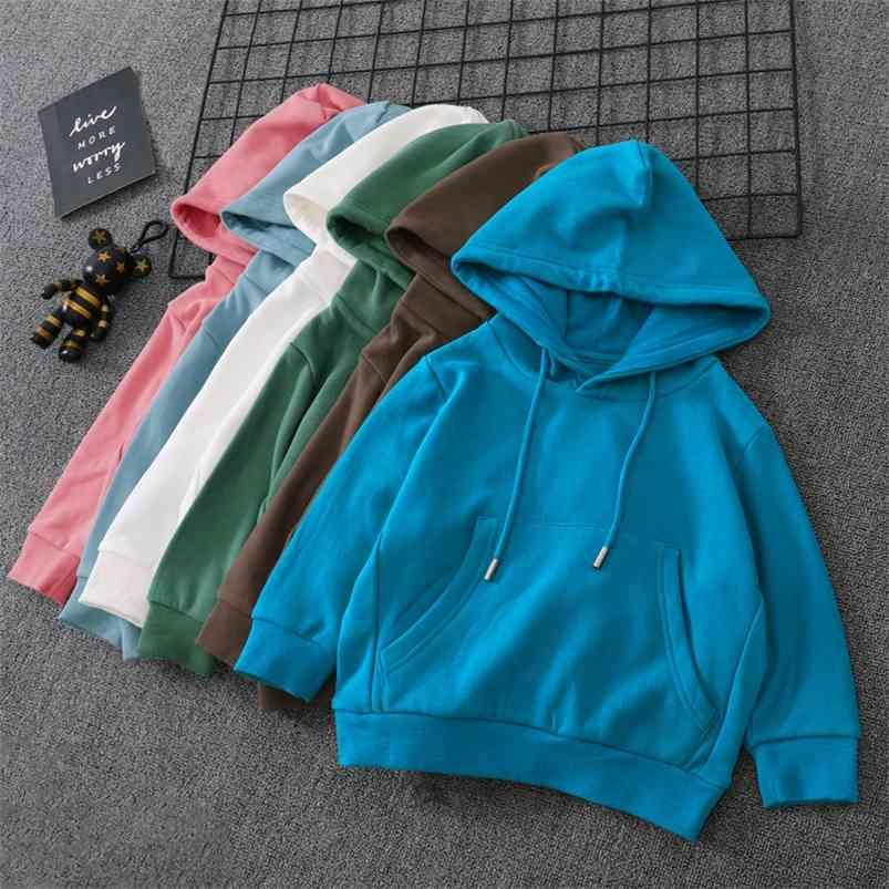 Fashionable Boys Hoodies Autumn Spring Girls Pullover Coats Pure Color Hooded Outerwear Tops for Teenage Cotton Children Clothes 210622