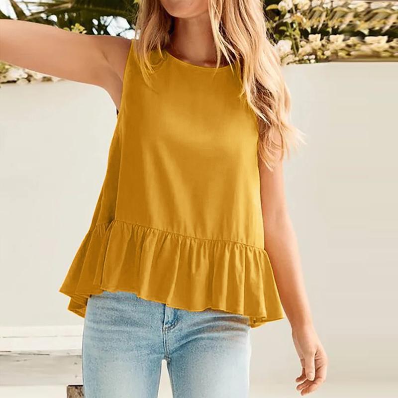 Camicette da donna Camicie Summer Ruffle Tops Zanzea 2021 Elegante casual senza maniche Tanica Tunica Femminile Solid Hollow Blusas Chemise